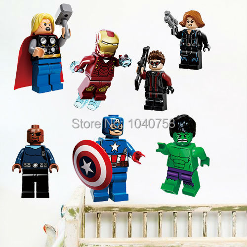 Lego Movie Avengers Wall Stickers Decals Art for Baby Nursery Kid Room Home Decoration WallPaper Cartoon Captain America Poster(China (Mainland))