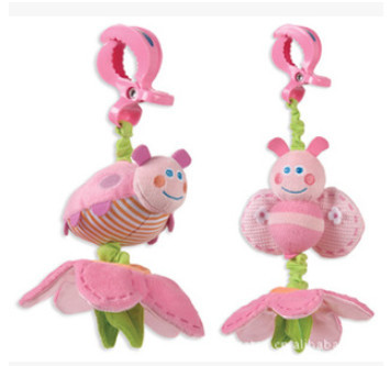 New 2015 Baby Toys 1 pcs Cute Pink Bee Plush Toy Crib Mobile Bed Hanging Toy Rattles Stroller Toy for 0-12 Months Free Shipping