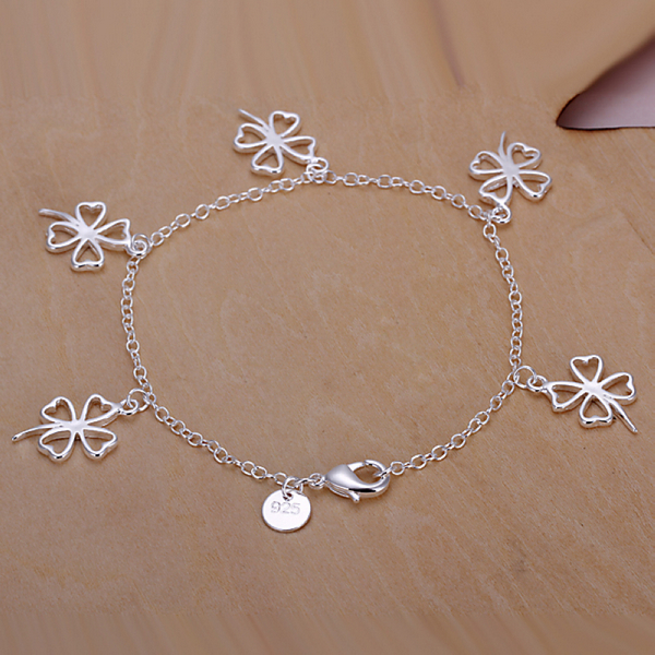 2016 New Top Quality Silver Plated & Stamped 925 five flower pendant charms bracelet girls/women trendy Wholesale Promotion(China (Mainland))