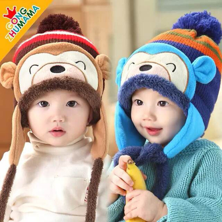 2015 winter new babies hats crochet hats Cartoon monkey and earmuffs wool&cotton hat Children's protect ear caps winter baby hat(China (Mainland))