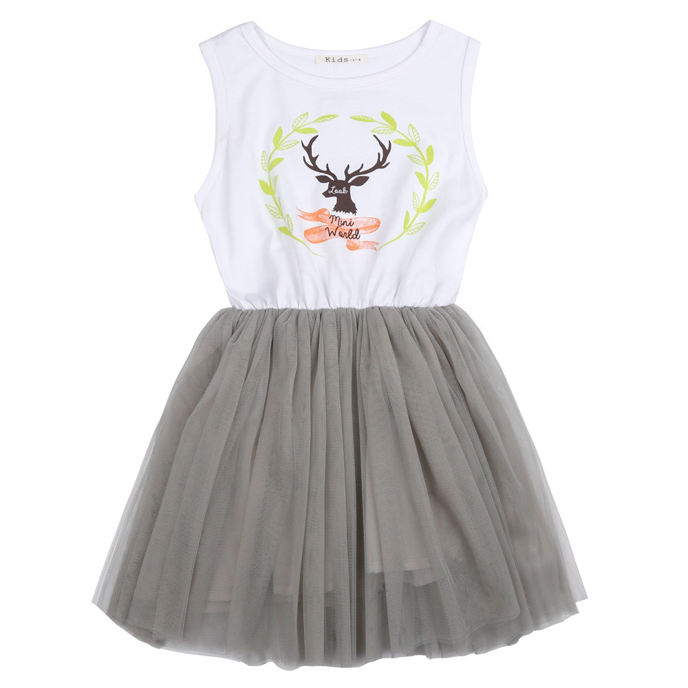 Summer 2016 Girl Dresses for Girls Tutu Deer Print Birthday Party Dress Children Clothes For Kids Costume Vestido 3-10Y(China (Mainland))