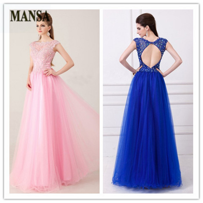 100%High Qulaity MANSA Pink Royall Blue Appliques Beaded Cap Sleeve Tulle Prom Dresses Floor Length Women Evening Dress Long2014(China (Mainland))