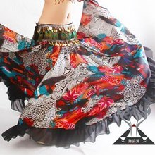 2014 New Fashion Upscale Chiffon Print  Belly Dance Skirt 360-degree Swing Wave Tribal Performing Exercises Skirt TZ009