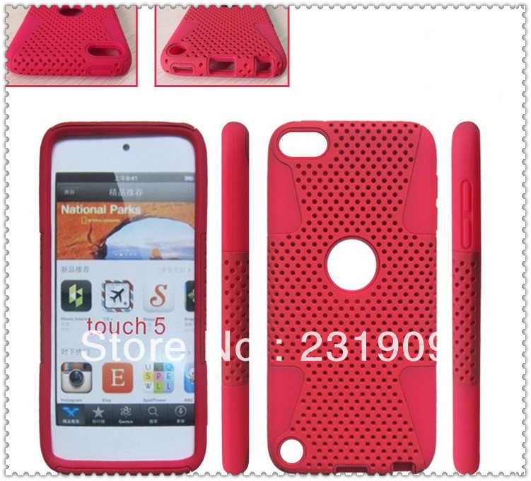 Wholesale ! Heavy Duty 2 in 1 Net Mesh Combo Hybrid Armor Back Skin Hard Shockproof Cover Case For Ipod touch 5 ,Via Free DHL(China (Mainland))