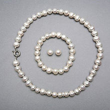 Natural White Freshwater Pearl Wedding Jewelry Sets for Brides Geniune Freshwater Pearl Necklace Bracelet Earring Set for Woman (China (Mainland))