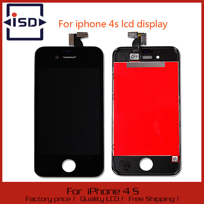 100% New LCD Touch Screen With Digitizer Display Glass Assembly Complete Replacement For iPhone 4GS 4S Black color(China (Mainland))