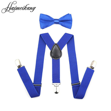 2016 Suspenders and Bow Tie Set Braces Elastic Y-back for Baby Kids Red Pink Black Blue Boy Girl Suspenders and Bow Tie