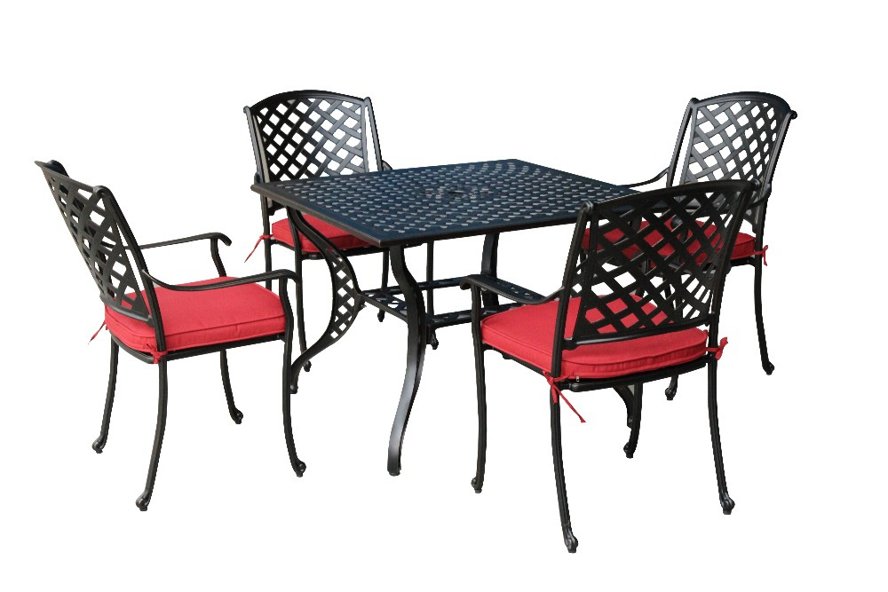 Spring promotion 2014 new5 pcs patio round dining set for Red metal patio furniture