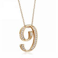 Slovecabin 925 Sterling Silver japoński złoty łańcuszek długi naszyjnik biżuteria Hip Hop numer 1 2 wisiorek cyrkon list mężczyźni naszyjnik(China)