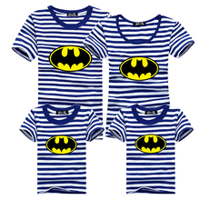 Women Kids Striped Clothing Top tees Cotton T-shirt Spring Family Matching Outfits Family Look Family fitted Batman