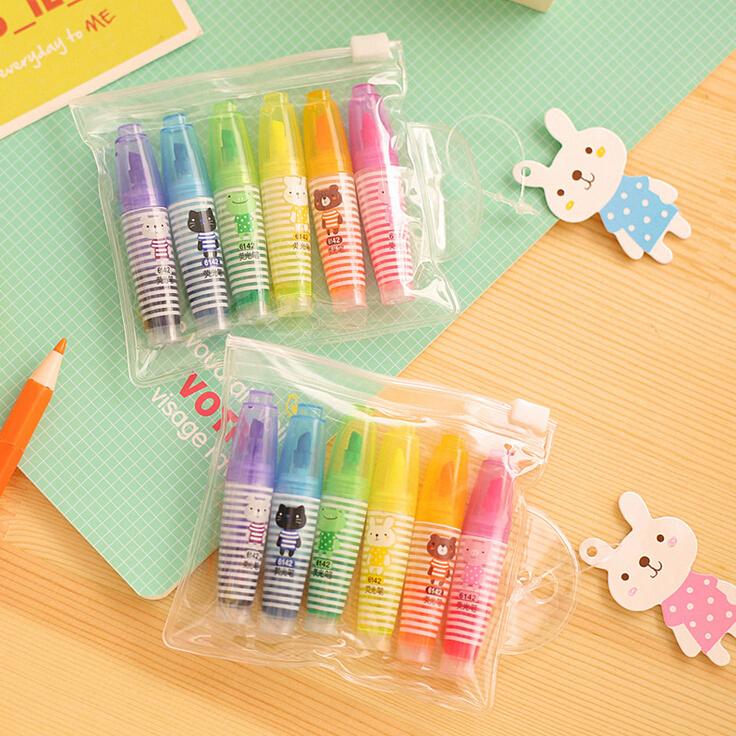 6pcs/lot Novelty Cartoon Animal Highlighter Fluorescent Pen Markers Gift Stationery Cute Kawaii Mini Highlighter school supplies