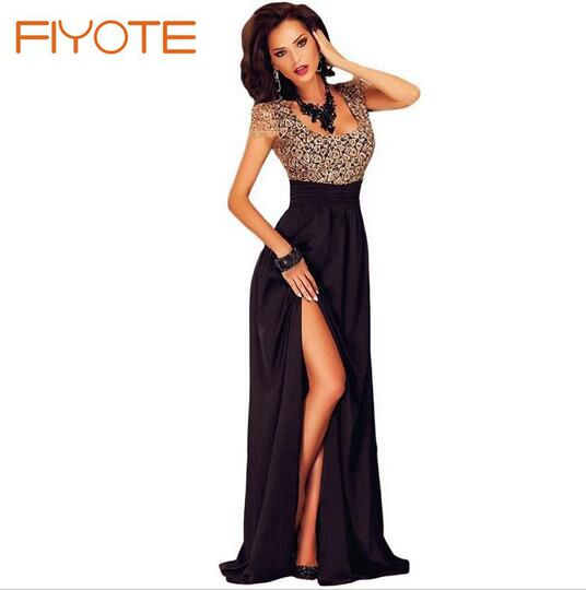 Amazing Gold Lace Overlay Slit Maxi Evening Gown  LC60809 Одежда и ак�е��уары<br><br><br>Aliexpress