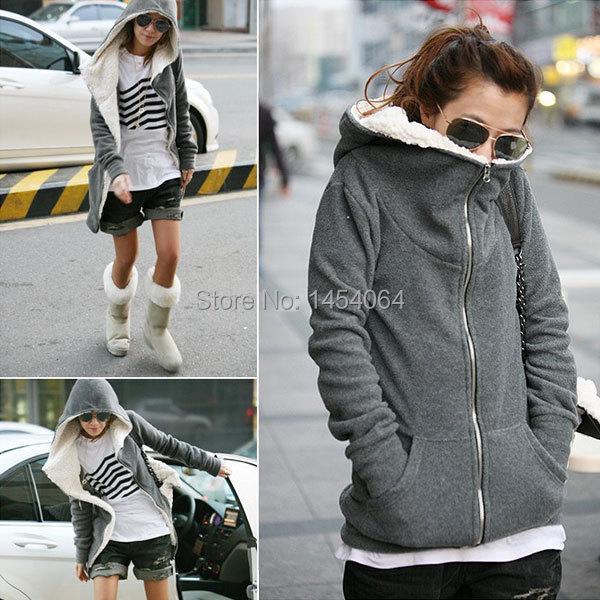 Plus Sizes Zanzea Fashion Women Ladies 2014 Winter Zip Up Fleece Jacket Coat Black/Grey Outerwear Hoodies Sweatshirt(China (Mainland))