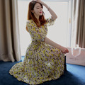 2015 fashion Medium women bohemian beach dress long sweet priness print half chiffon plus size S