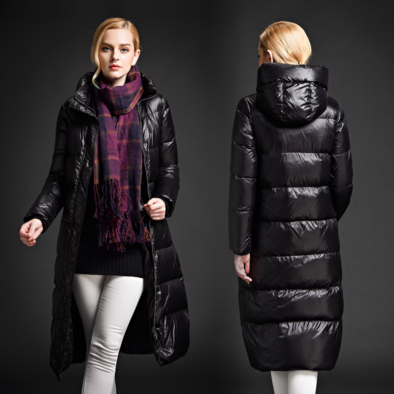 Фотография 2016 thickening ultra long down coat female over-the-knee ultra long with a hood plus size down coat