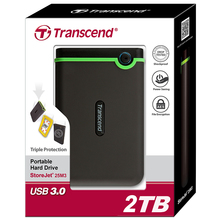 Transcend 25M3 USB 3.0 Encryption External Hard Drive 2TB HDD Hard Disk Drive 2T Portable Storage For PC Laptop Notebook Desktop