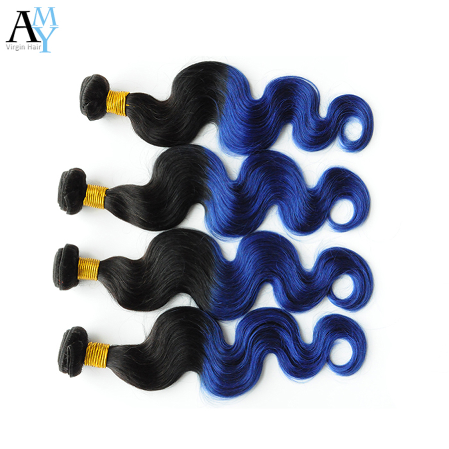 7A Brazilian Virgin Hair Ombre Body Wave 3pcs/lot 1B#Blue Ombre Brazilian Hair Body Wave Ombre Hair Extensions Alidoremi Hair