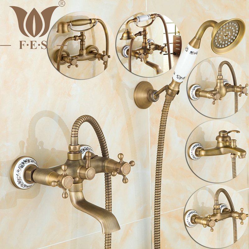 Antique Brushed Brass Bath Faucets Wall Mounted Bathroom Basin Mixer Tap Crane With Hand Shower Head Bath & Shower Faucet(China (Mainland))