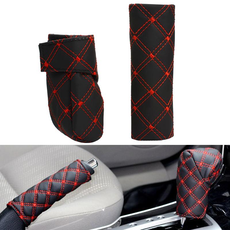 Car Auto Gear Shift HandBrake Hand Brake Cover Grid PU Cover Set Black Red and Balck white Free Shipping #EA10426(China (Mainland))