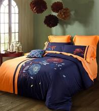 free shipping, traditional embroidery soft cotton  bedding set 4 pcs,QXD009(China (Mainland))
