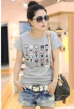 2015 New wholesale fashion tops Simple and elegant women s Letter Printed short sleeve t shirt
