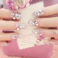 Free shipping new 24PCS lot finished fake nails noble bride shining rhinestone 3D stereoscopic full coverage