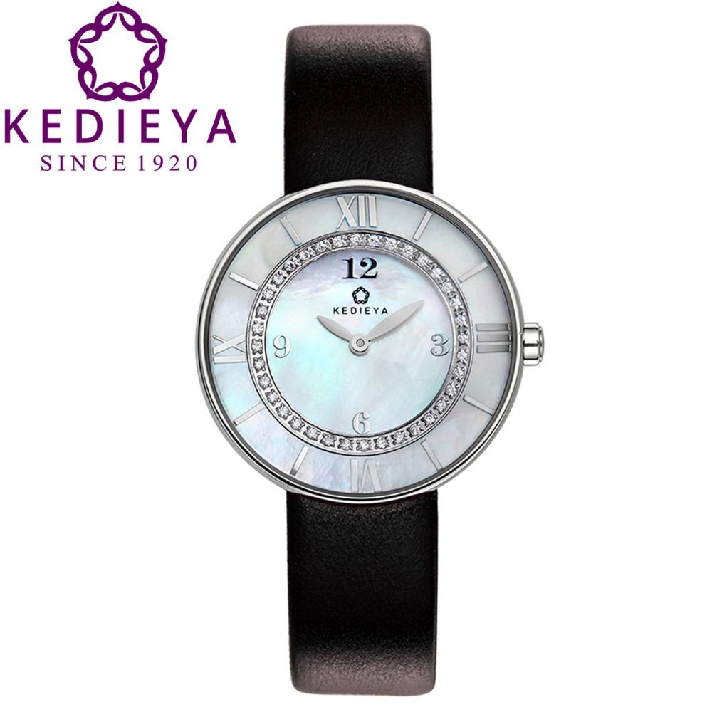 KEDIEYA Luxury Double Layer Pearl Dail 36 Zircons Diamond Genuine Leather Waterproof Quartz Watch Woman Gifts Red Orange White<br><br>Aliexpress