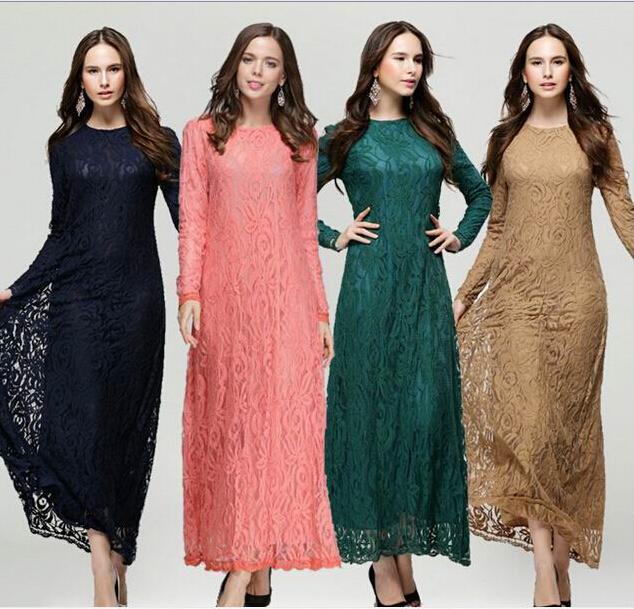Muslim lace Dresses for Women 2015 Long maxi Dresses Malaysia Abayas in Dubai Turkish Ladies Clothing Abaya Kaftan Stock items(China (Mainland))