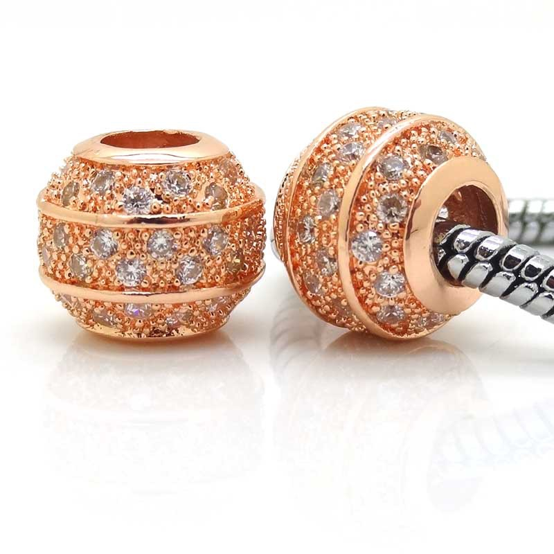 Striped white Zirconia Pave set stones Rose Gold Eurpean Beads fit Pandora charm bracelet jewelry accessories Valentine gift(China (Mainland))