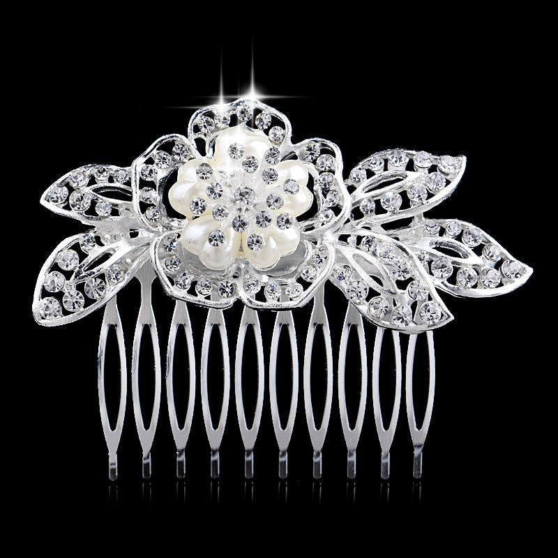 Trendy Wedding Party Tiara Pearls Crystal Floral Hair Comb Jewelry Accessories - Blue Stone store