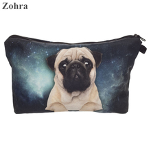 Zohra galaxy pug 3D printing necessaire Women Cosmetics Bags organizador neceser travel organizer maleta de maquiagem Makeup bag