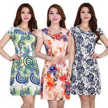 L-5XL 2016 New 21 styles Fashion Women summer Tunic Milk Silk Print Short sleeve O neck Slim dress Plus Size sexy casual dresses(China (Mainland))