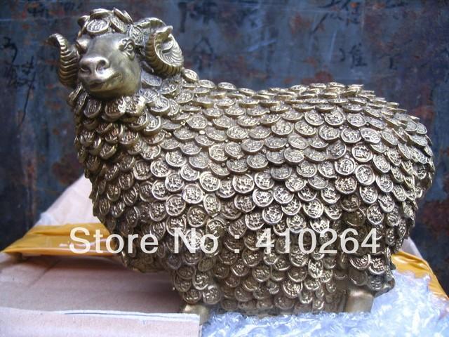 "[wholesale_jewelry_wig ]  beautiful Brass Wealth money ""FU"" sheep bronze statue"