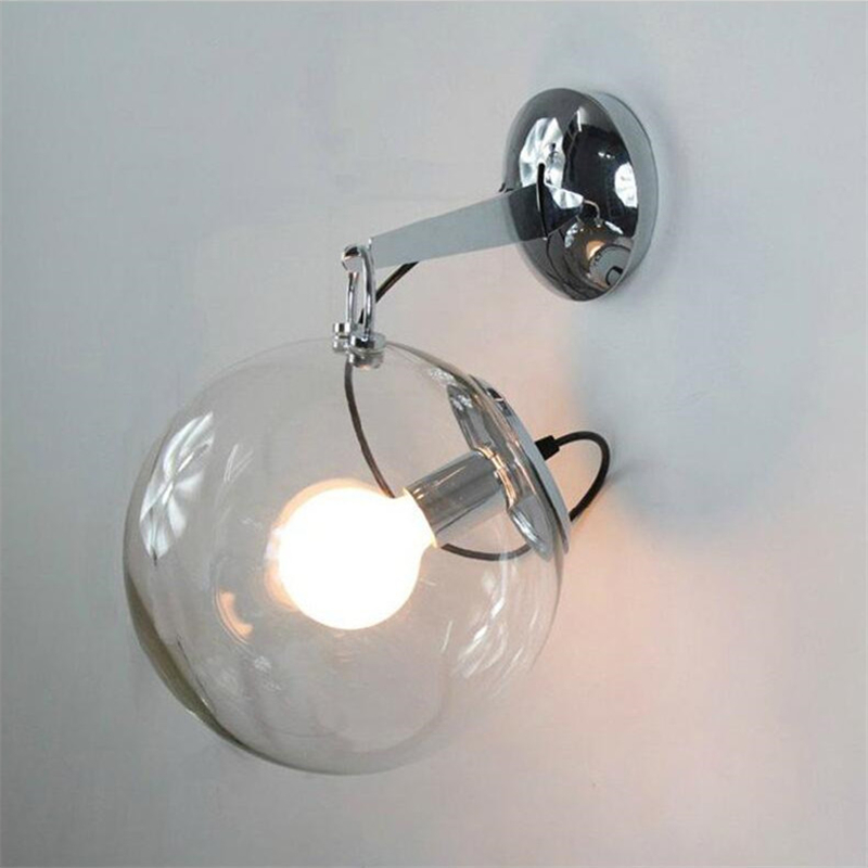Clear Glass Ball Shade Wall Lamps Wrought Iron Wall Lights Bathroom Mirrors Light Fixtures ...