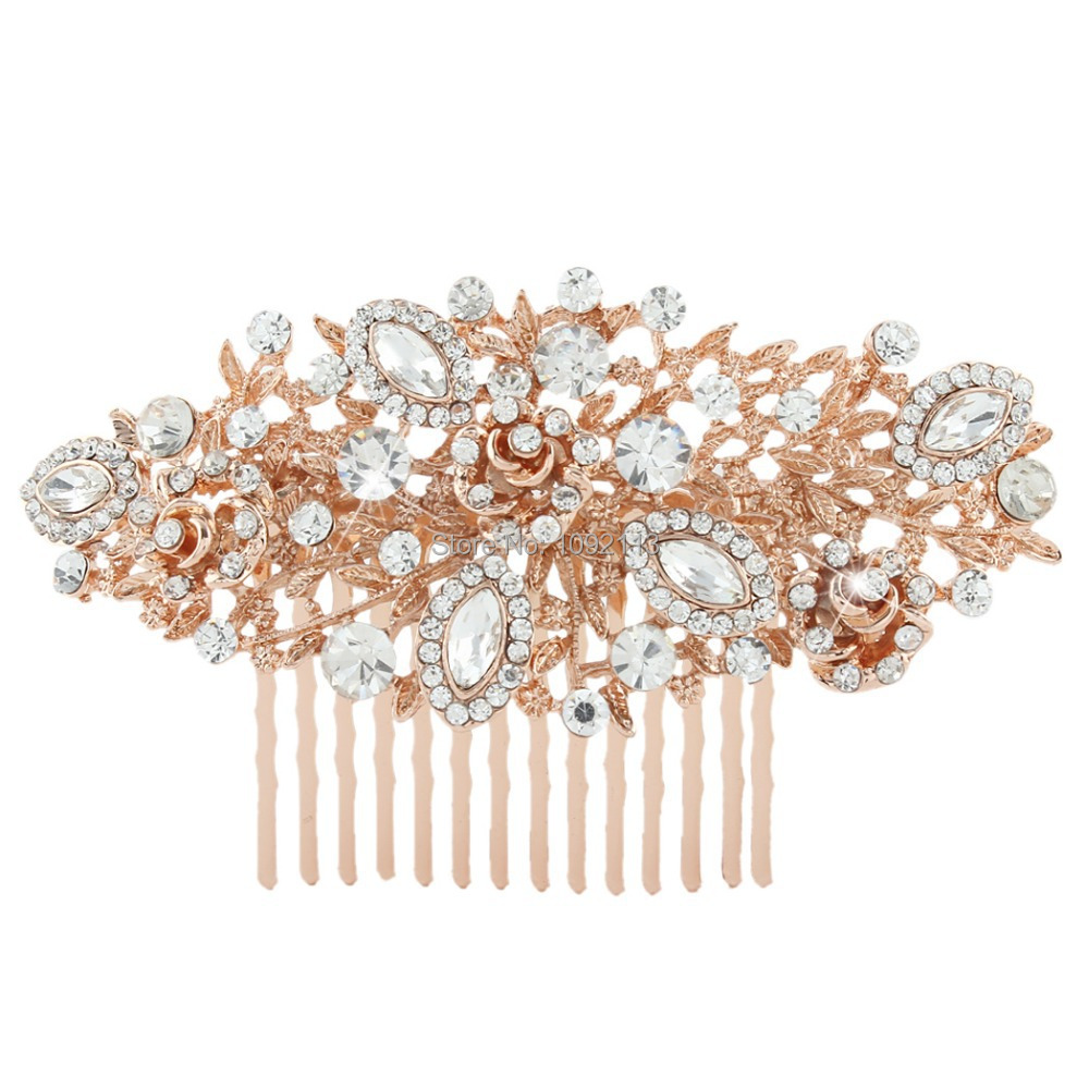 BELLA New Rose Gold Tone Wedding Flower Hair Comb Pins Austrian Crystal Head Piece For Wedding Hair Piece Bridesmaid Jewelry<br><br>Aliexpress