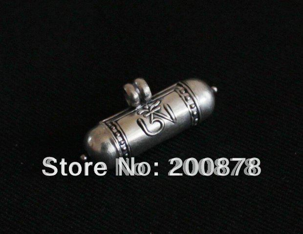 T9040 Tibetan 925 sterling silver Prayer box,Nepal lovely cylinder amulets,OM GAU pendant,26*8mm(China (Mainland))