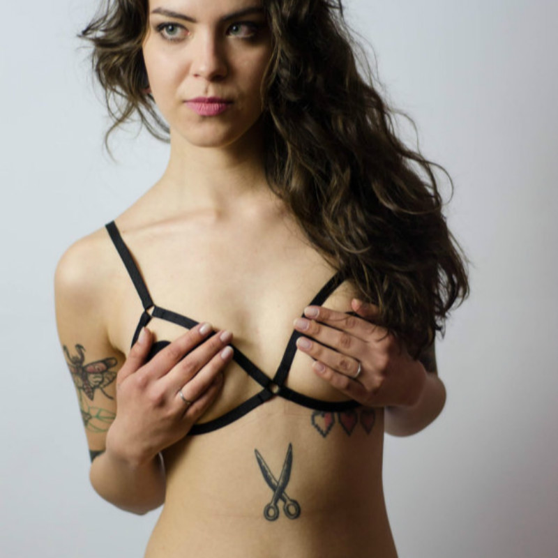 New fashion pastel goth women elastic chest bondage harness bra sexy lingerie top Laura Frame Bra retail(China (Mainland))