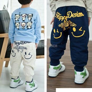 Розничная 2014 новая коллекция весна осень хлопок мальчиков брюки мальчики девочки свободного покроя брюки 2 цвета дети спортивные брюки шаровары брюки горячие