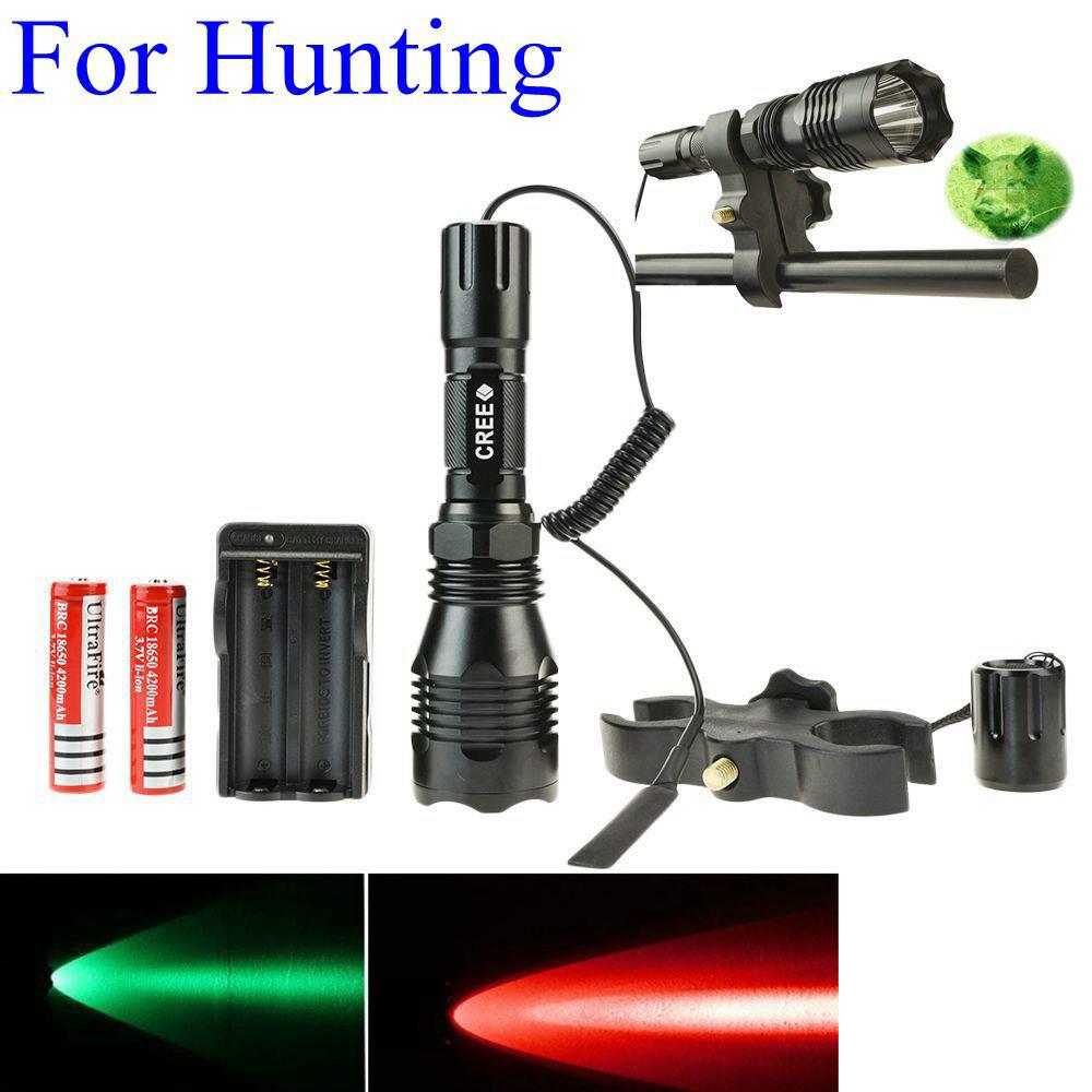 Full Set Hunting Tactical LED Flashlight Red Green light Lantern +25mm Diameter Refile Gun Mount +Remote Control Pressure Switch(Hong Kong)