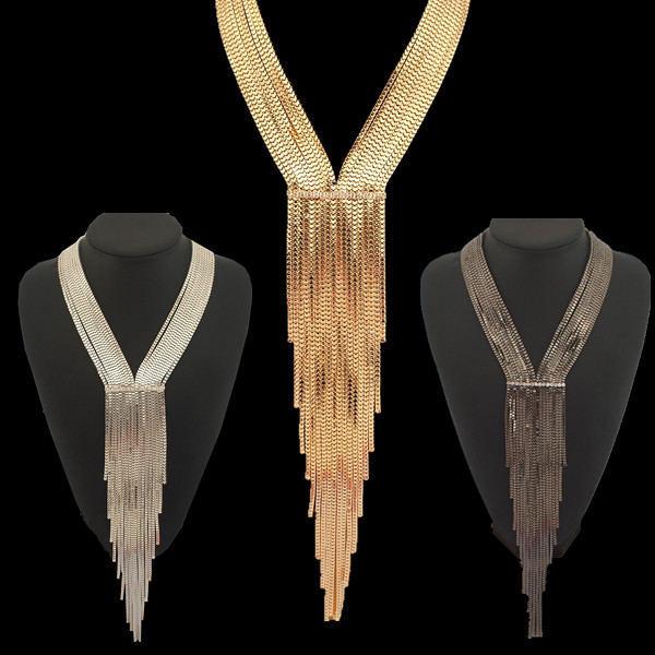 Boho mujeres Multilayers cadena de la serpiente collares largos 2015 accesorios moda piedras desgaste del partido