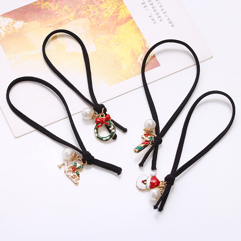 Hot sale Europe and the United States cute fruit Christmas pendant hair band hair rope for Important festivals gifts female(China (Mainland))