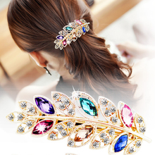 Buy 1 pc Beauty Women Fashion Hair Clip Leaf Crystal Rhinestone Barrette Hairpin Headband hair accessories 5 colors for $1.23 in AliExpress store