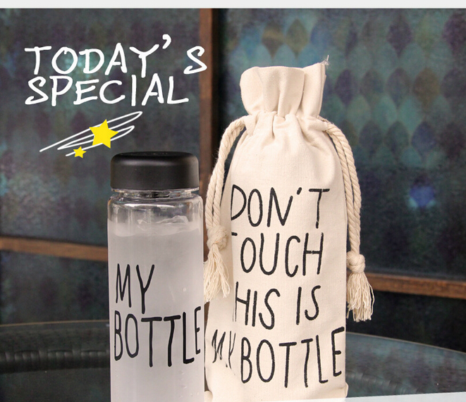 My bottle with plastic gift bag sports bottle of lemon juice cicycle stylish space cup with the word Drinkware 500 ml(China (Mainland))
