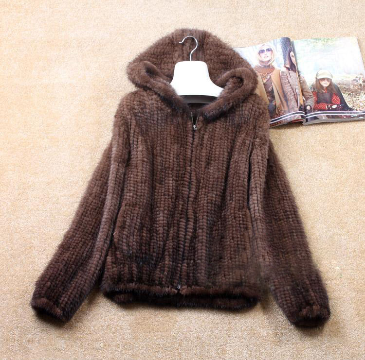 Free shipping Naturalgenuine real knit Mink Fur Winter Coat Women's Long-sleeve Top Fashion All-match Knitted Mink Coat 5XL(China (Mainland))