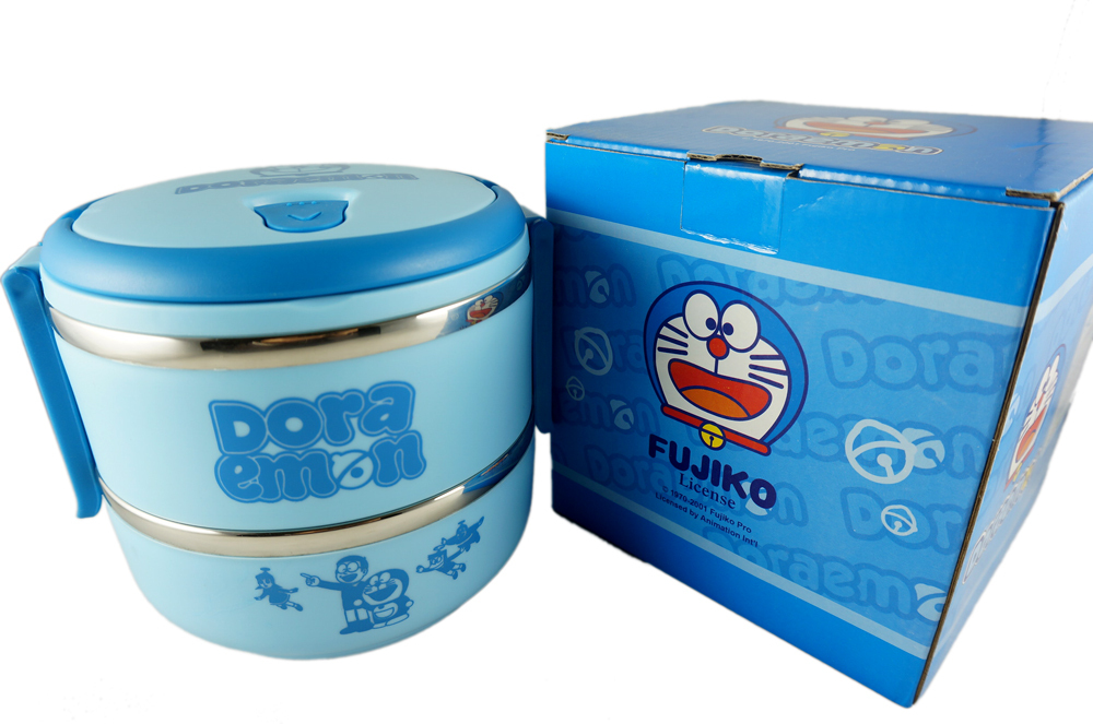 Blue Doraemon Lunch Box for Kids Japanese Bento Box Thermos Food Container Lunchbox w/ Handle Stainless Steel for Kitchen School(China (Mainland))