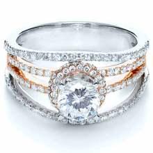 LASAMERO Роскошные Имитация Алмазный Стерлингового Серебра 925 Two Tone Позолоченные Бриллиантовое Обручальное Обручальное Кольцо Для Женщин(China (Mainland))