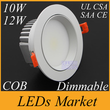 White shell 10w 12w Dimmable COB LED Downlight 90-260V 12v 1050lm Led Fixture Recessed Cabinet Down Lights WW/NW/CW CE UL CSA(China (Mainland))