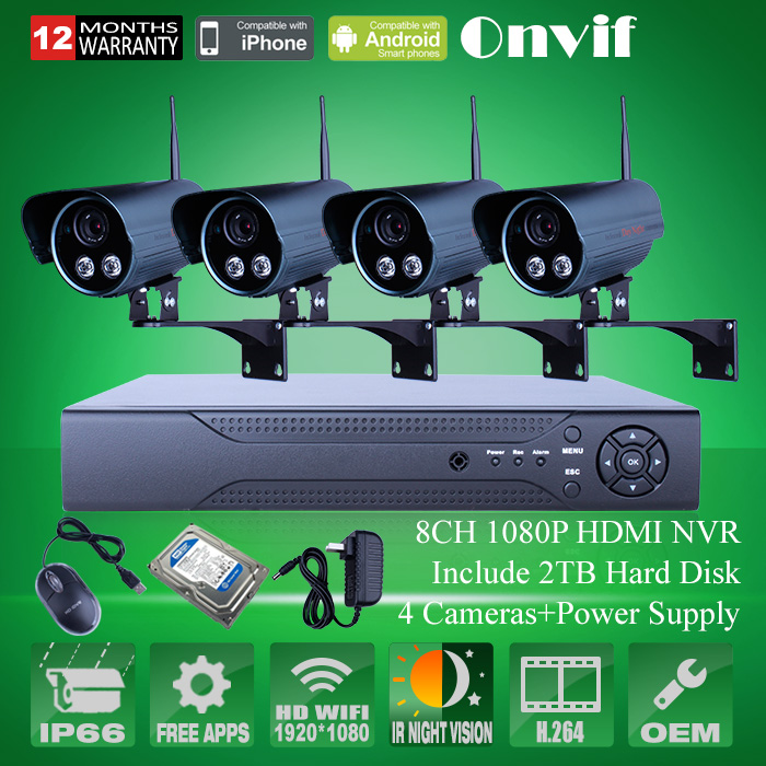 8CH H.264 NVR 2.0 MegaPixel 1080P HD Wireless WIFI Network IP Camera System With 2TB HDD<br><br>Aliexpress