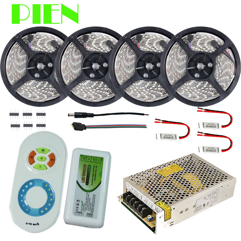 Dual color LED Strip 20m 15m 10m 5m Daylight flexible tape tiras Waterproof + RF Remote Controller + Power Adapter Free shipping(China (Mainland))