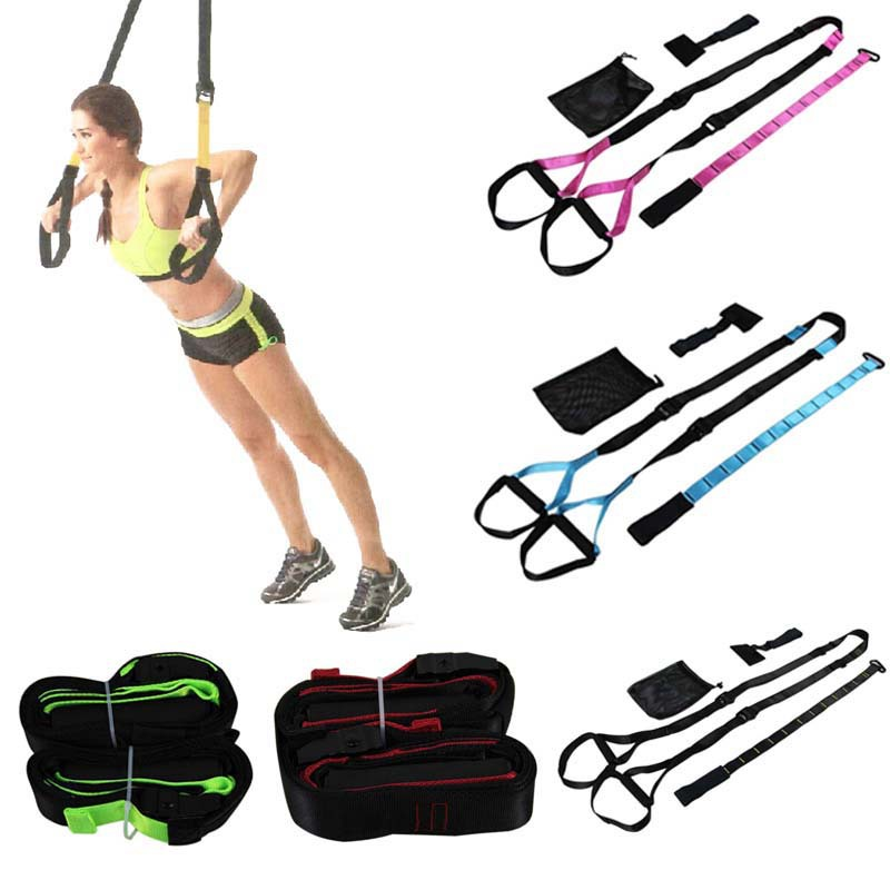 Hot Selling Yoga Training Fitness Resistance Band for Body Shaping Hanging Training Straps Suspension Trainer 6 Colors(China (Mainland))